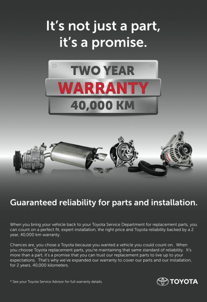 Two Year Warranty on Certified Toyota Parts!