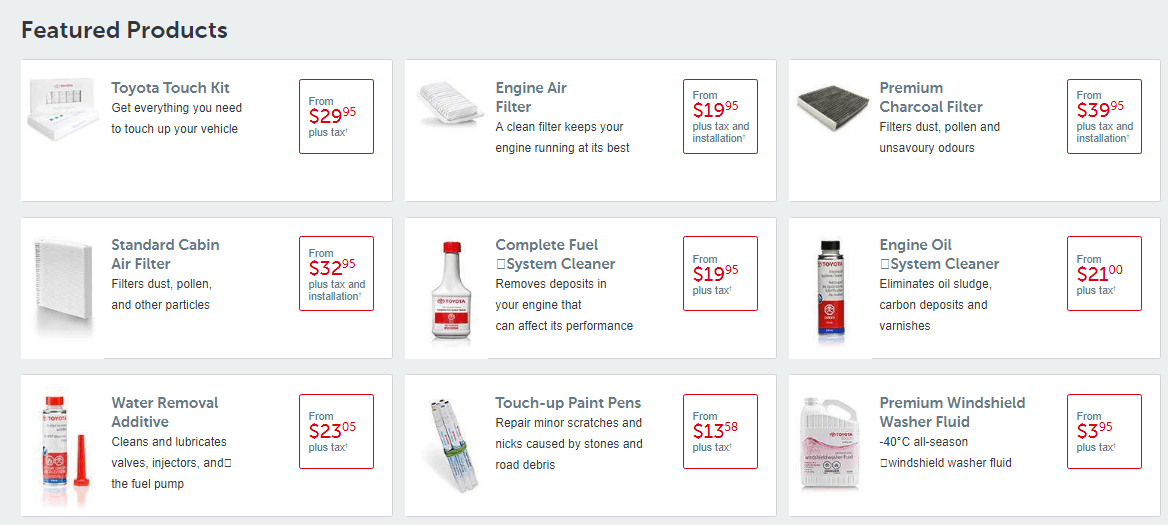 Toyota Genuine Parts Feature Products