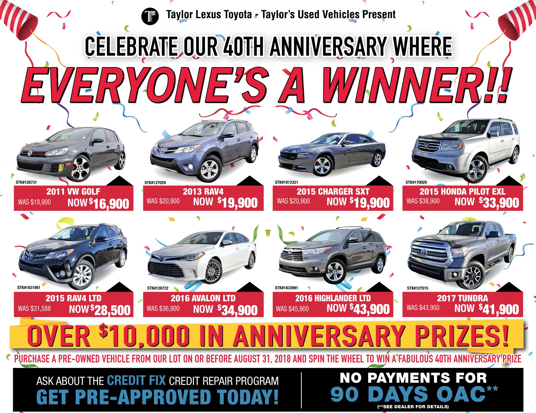 Pre-Owned Anniversary Special! Spin & Win!