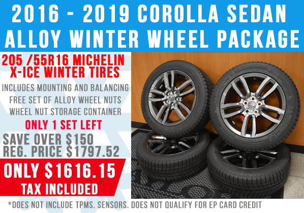 Alloy Winter Wheel Package for 2016 – 2019 Toyota Corolla Sedan – Only One Set Left