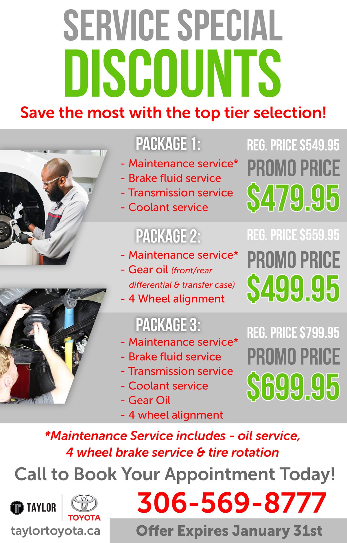 Save Now on a Variety of Servicing!