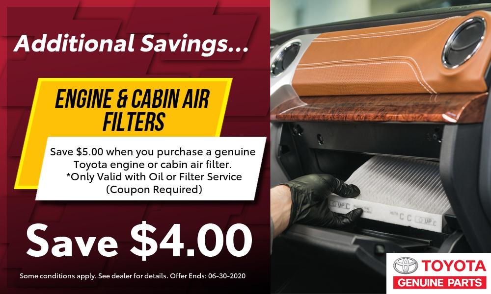 $4 off Engine or Cabin Filter