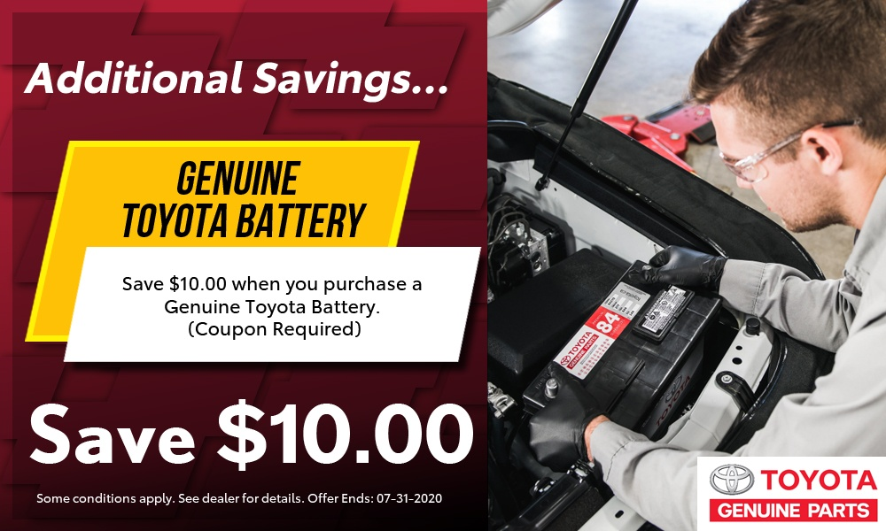 $10 off Genuine Toyota Batteries